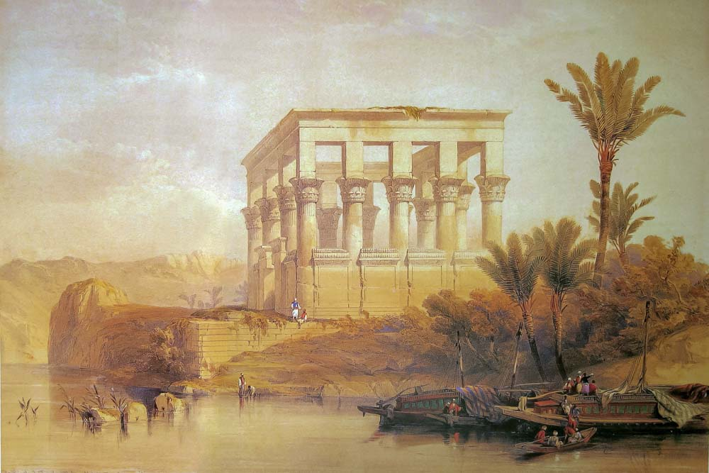 Romantic 19th century scene of Trajan's Kiosk at Philea Temple with river boats