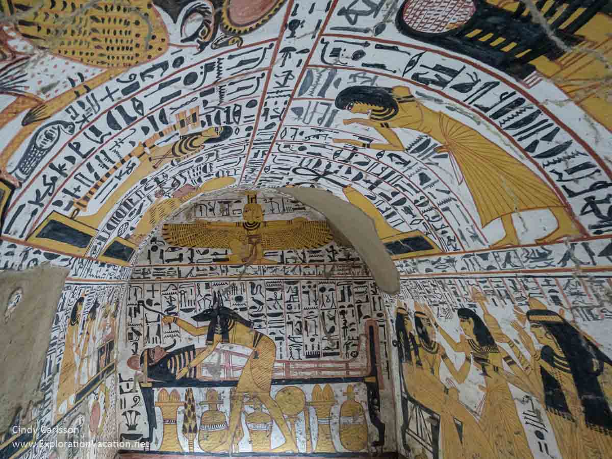 Interior of a burial chamber with wall paintings