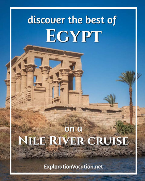 Ancient temple above the Nile with a palm tree and tourists