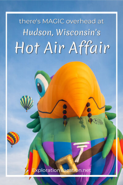 """hot air balloon shaped like a pirate parrot with text """"Hudson, Wisconsin's Hot Air Affair"""""""