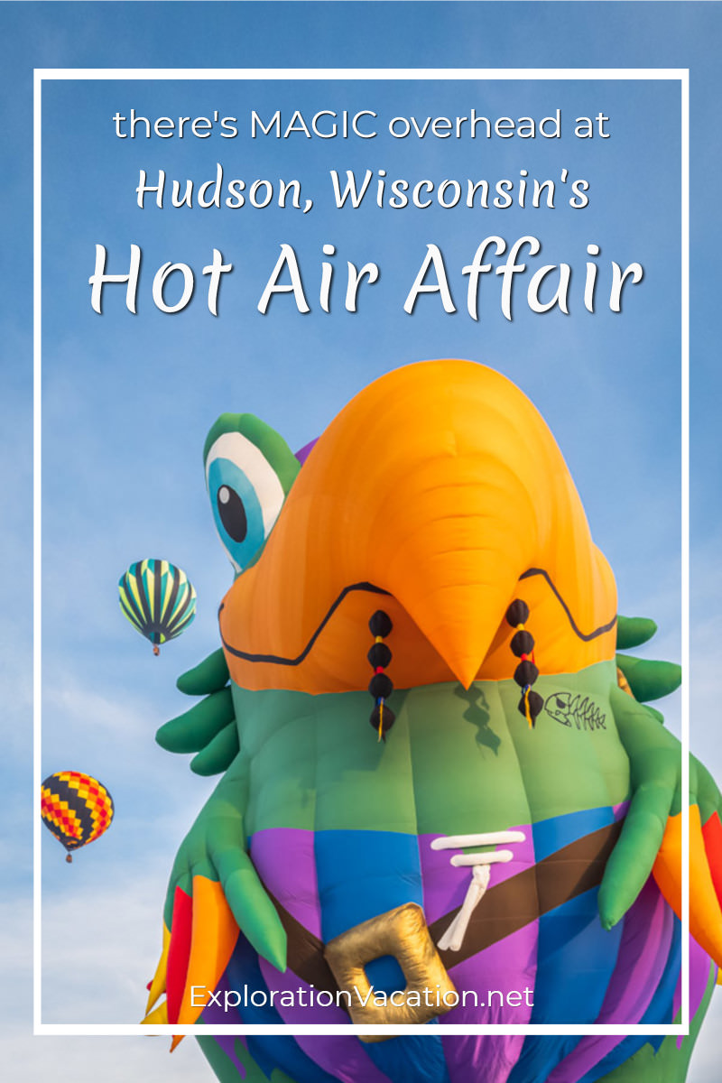 "hot air balloon shaped like a pirate parrot with text ""Hudson, Wisconsin's Hot Air Affair"""