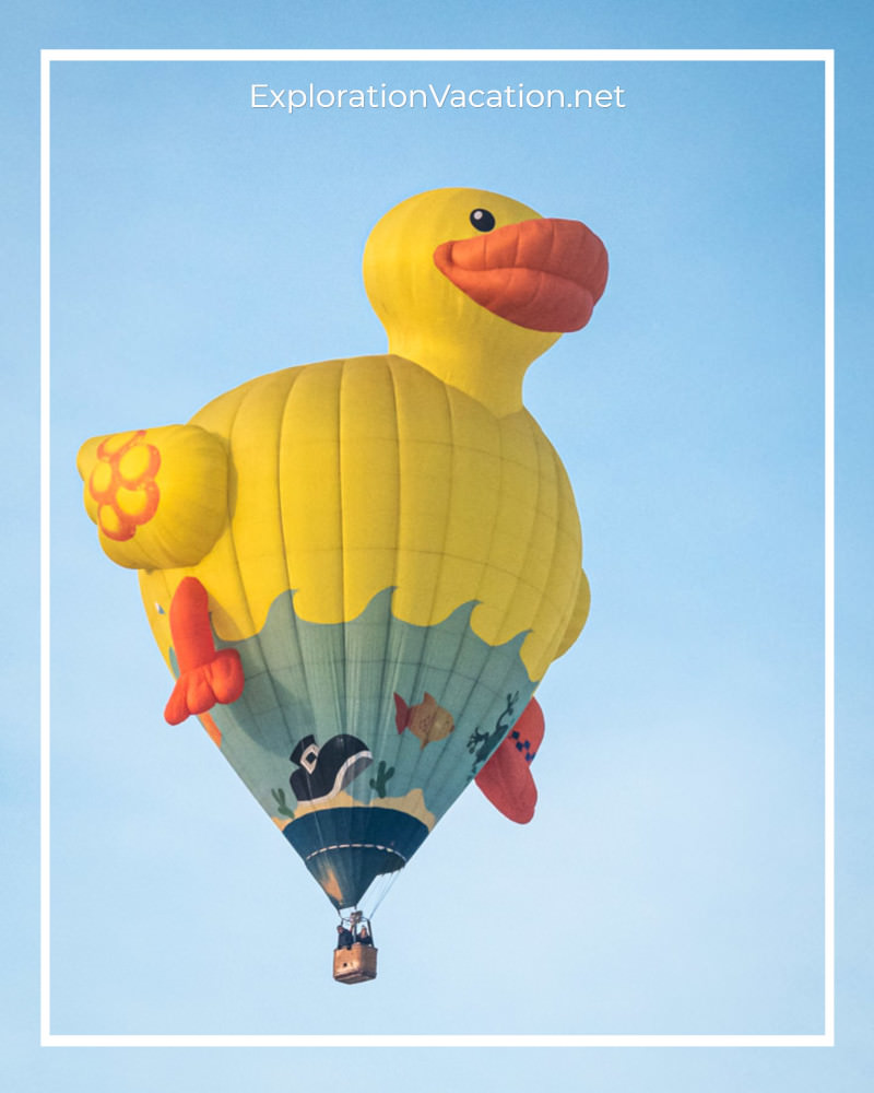 hot air balloon in the shape of a rubber ducky