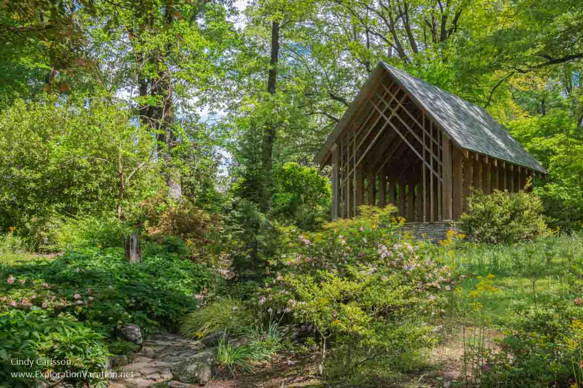 open wooden building in a woodland