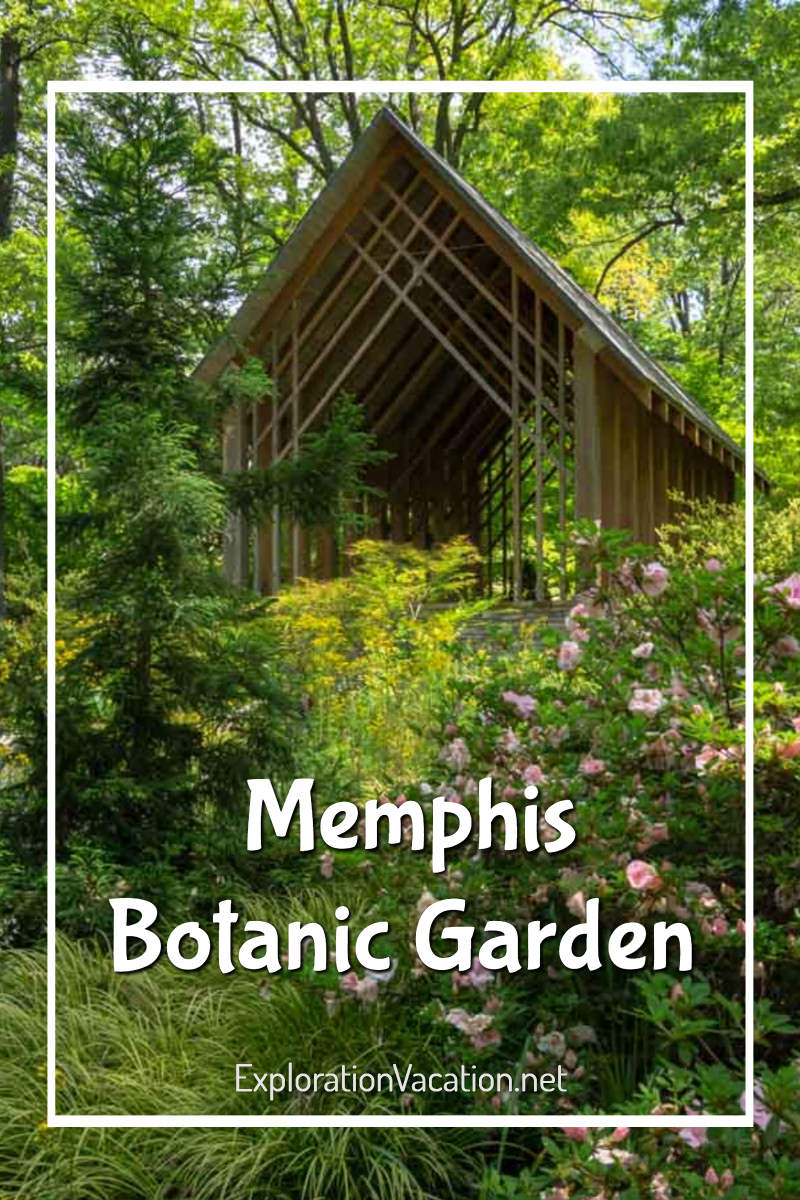 "pavilion in a woodland with text ""Memphis Botanic Garden"""
