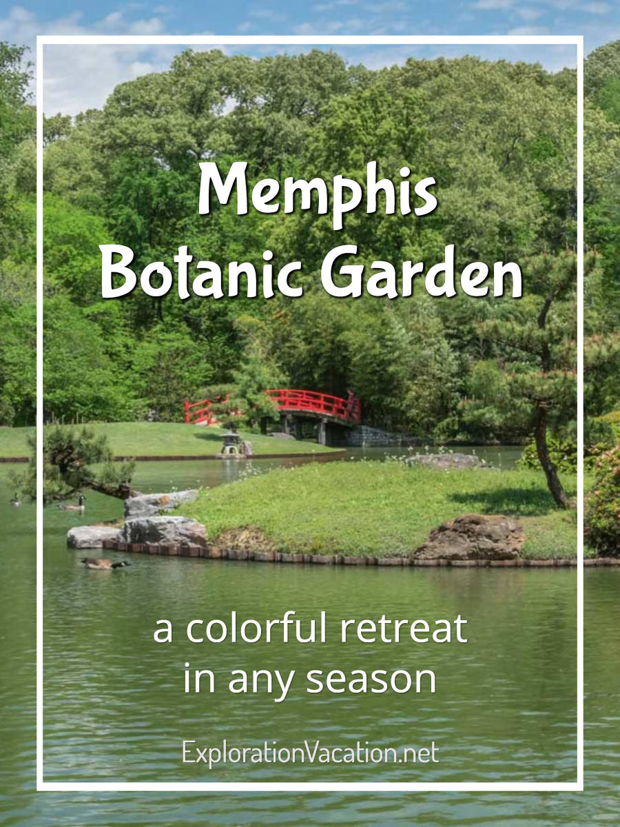 "Japanese garden and pond with text ""Memphis Botanic Garden"""