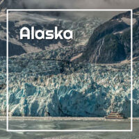 "glacier meeting the sea with text ""Alaska"""