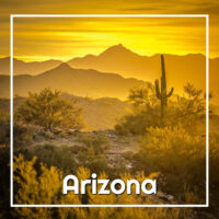 "mountains with golden sunset and text ""Arizona"""