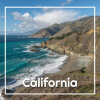 "Pacific coast in northern California with text ""California"""