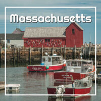 "fish shack and boats with text ""Massachusetts"""
