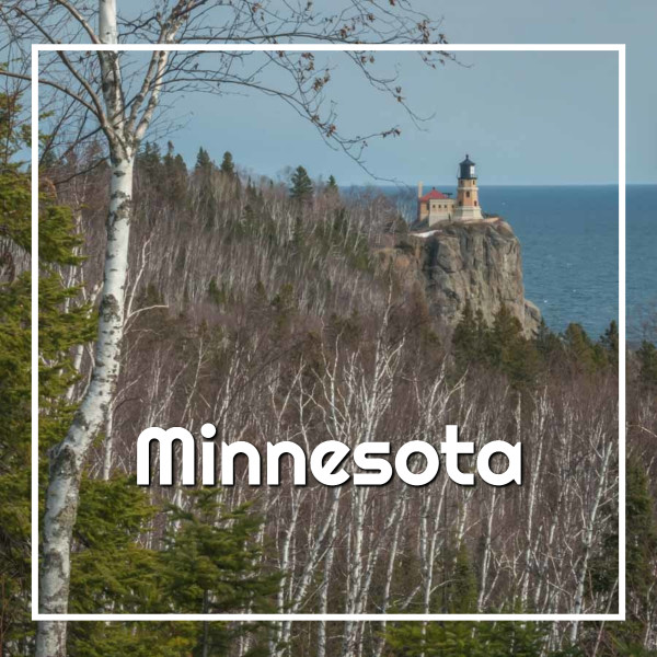 """forest and lighthouse with text """"Minnesota"""""""
