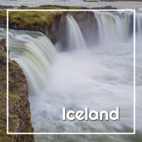 "Rushing waterfall with text ""Iceland"""