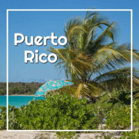 "palm tree and umbrella along beach with text ""Puerto Rico"""