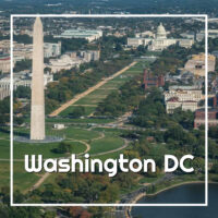 "Washington Monument and US Capitol from the air with text ""Washington DC"""