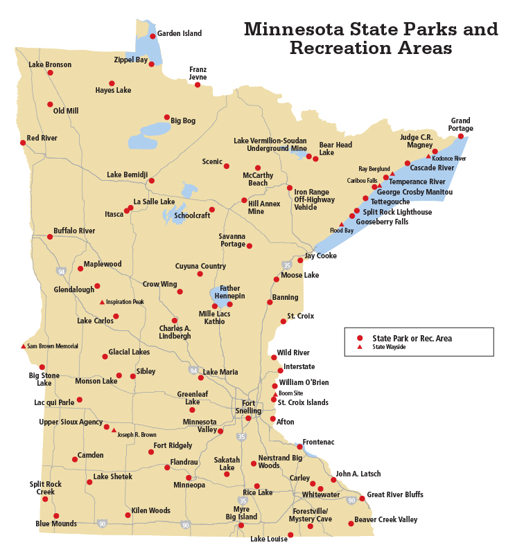 map of Minnesota with parks and rec areas marked