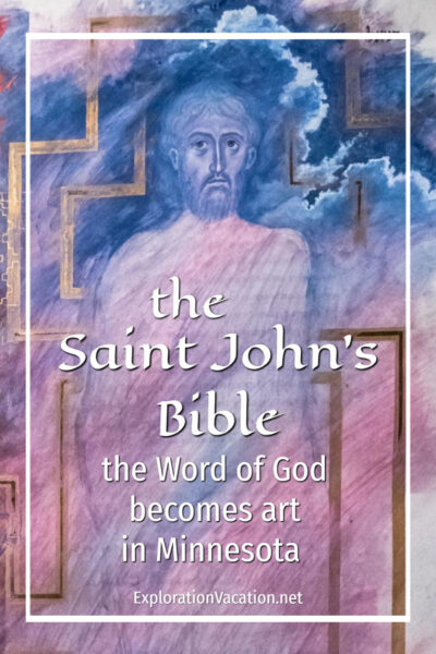 "painting of the Son of Man with text ""the Saint John's Bible: The word of God becomes art in Minnesota"""