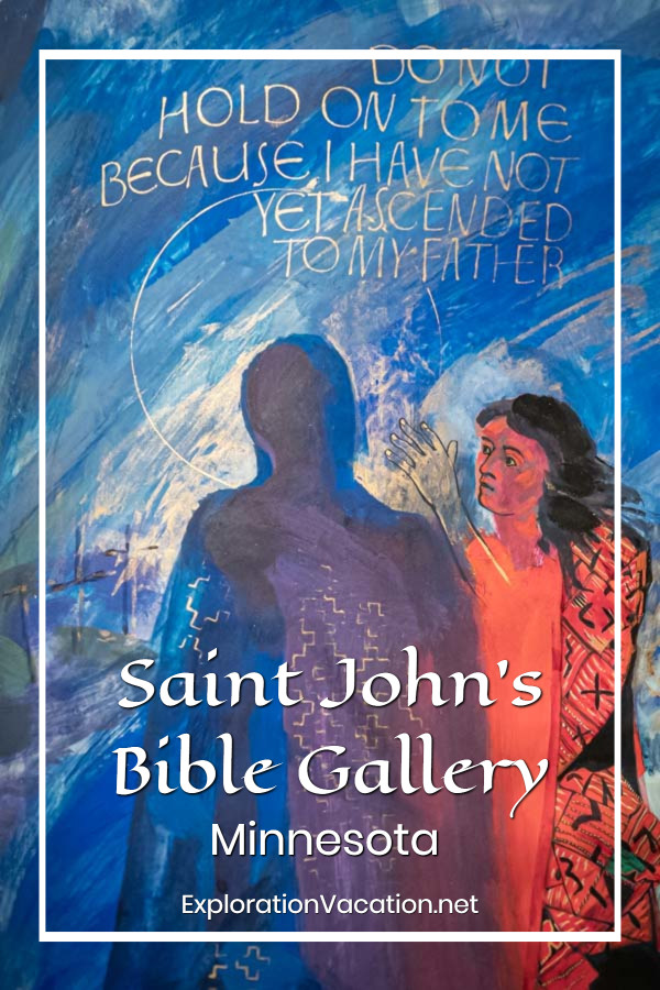 "art with the resurrected Jesus and a woman with text ""the Saint John's Bible Gallery"""