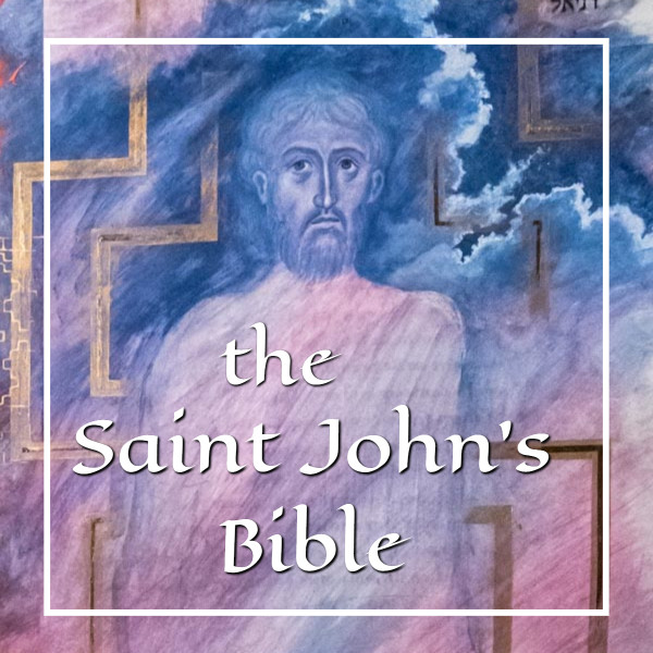 "painting of the Son of Man with text ""the Saint John's Bible"""