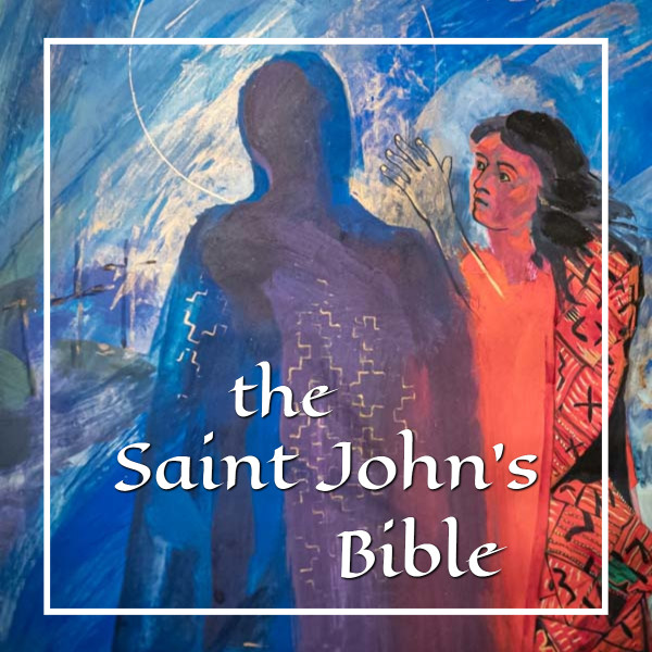 "art with the resurrected Jesus and a woman with text ""the Saint John's Bible"""