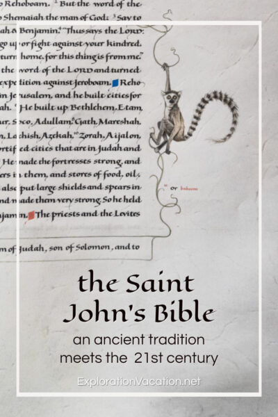 "text with a correction and drawing of a lemur and text ""the Saint John's Bible: An ancient tradition for the 21st century"""