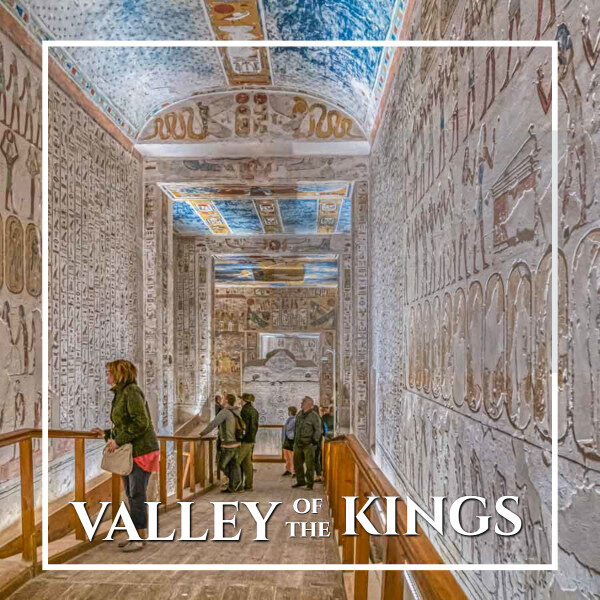 """decorated interior of a tomb with text """"Valley of the Kings"""""""