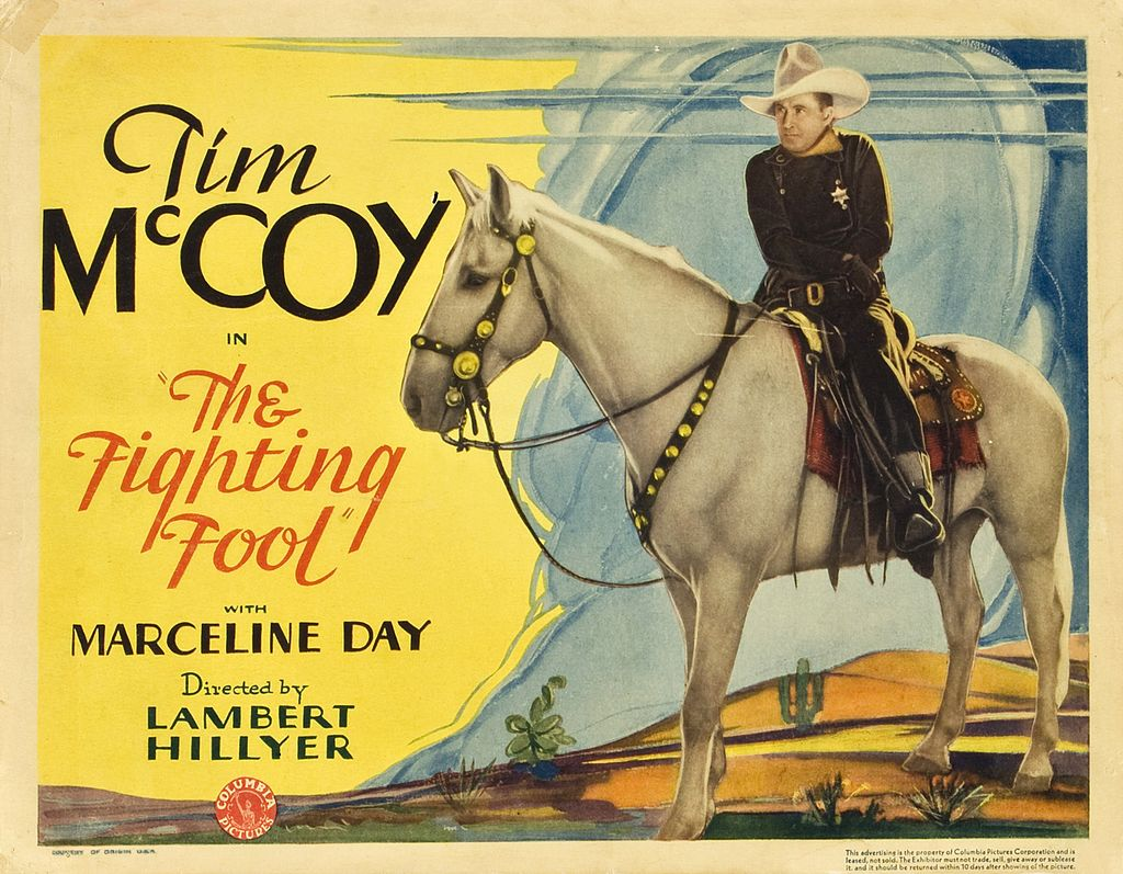 "picture of a man on a horse with text ""Tim McCoy The Fighting Fool"""
