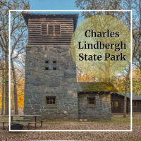 "historic CCC building with text ""Charles LIndbergh State Park"""