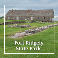 "pioneer era fort with text ""Fort Ridgely State Park"""