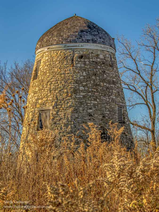 stone tower with a rounded top in fall