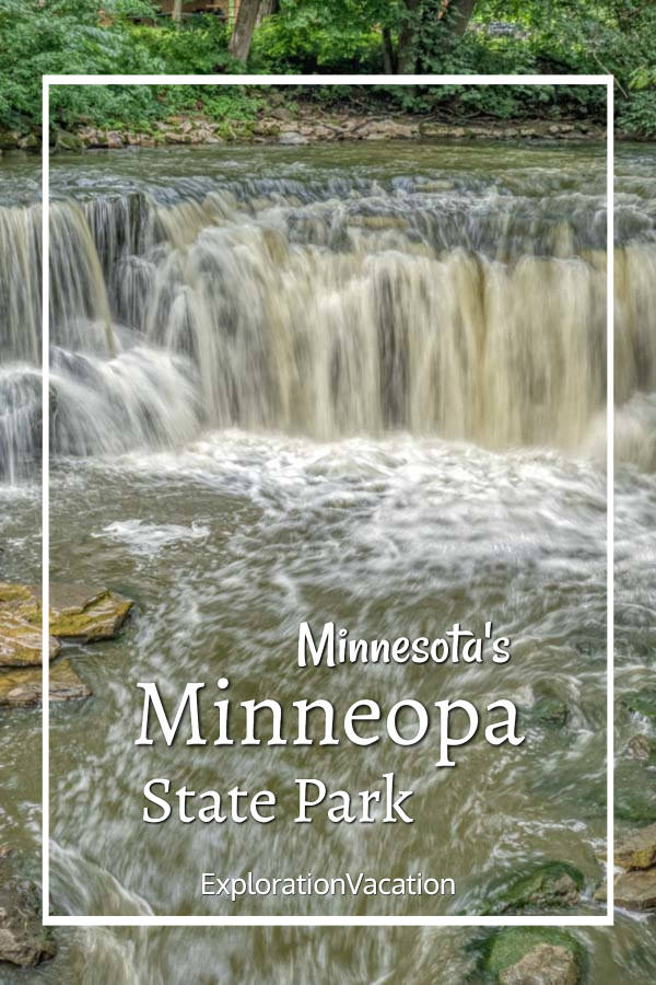 """close-up of a waterfall with text """"Minnesota's Minneopa State Park"""""""