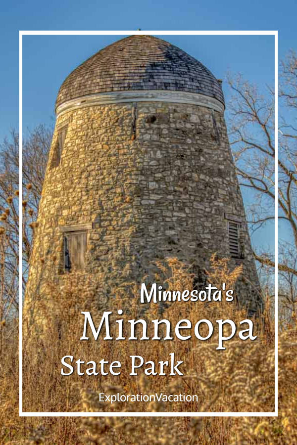 """stone tower with text """"Minnesota's Minneopa State Park"""""""