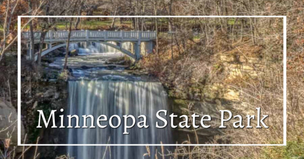 "Waterfall with text ""Minneopa State Park"""
