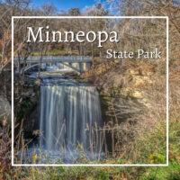 """Waterfall with text """"Minneopa State Park"""""""