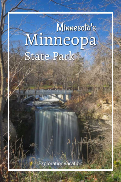 "waterfall with text ""Minnesota's Minneopa State Park"""