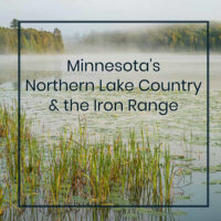 "fog over a lake with text ""Minnesota's Northern Lake Country and the Iron Range"""