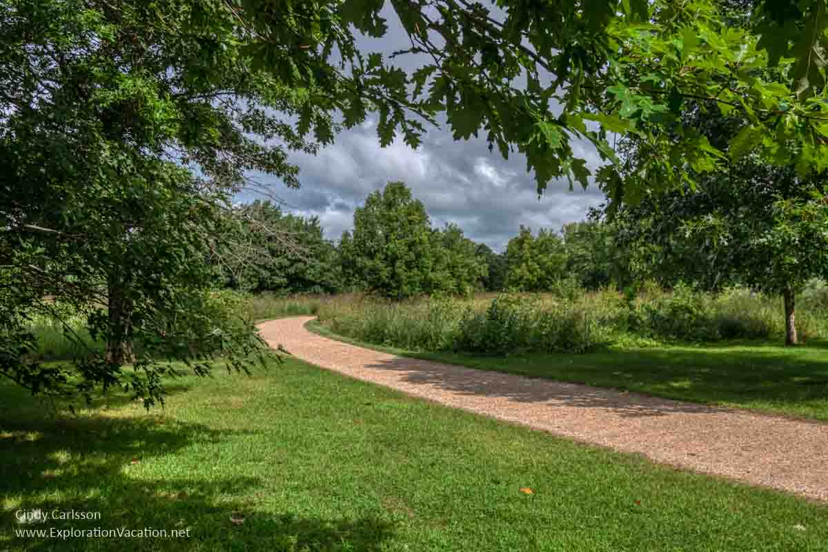 path through lawns and trees to a natural area