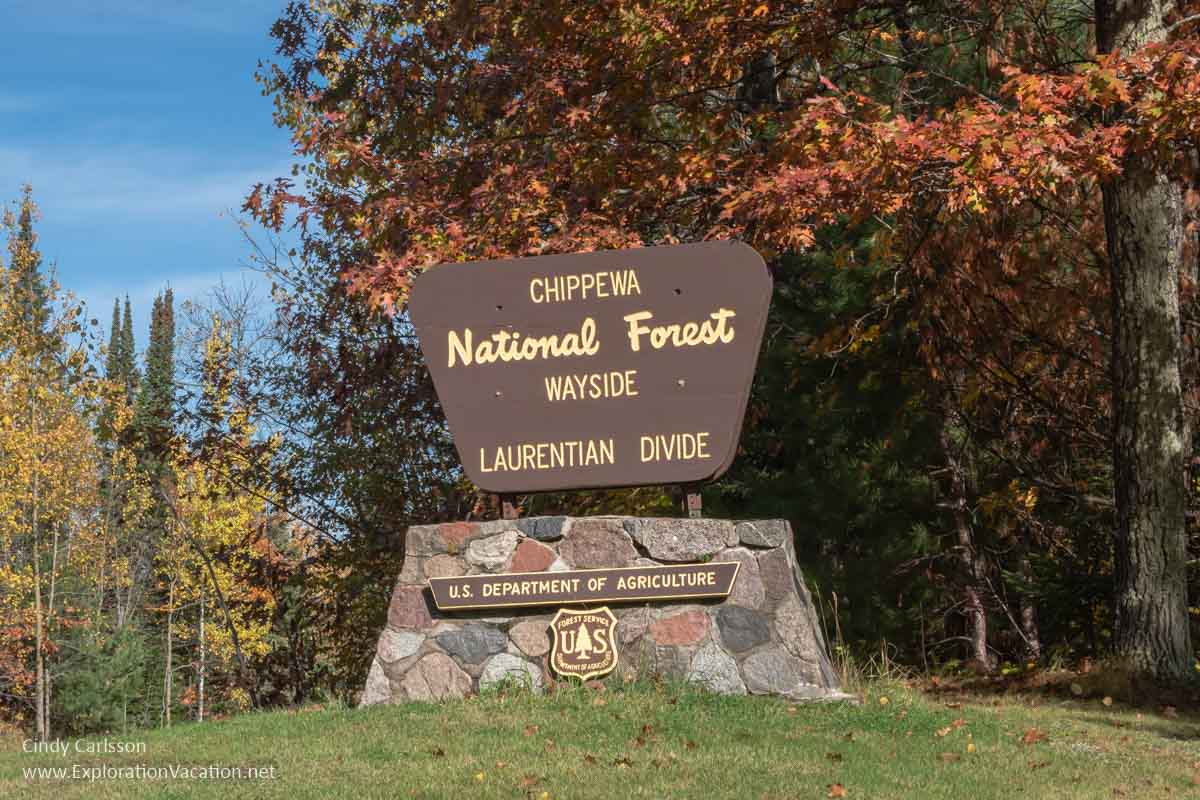 """Sign with text """"Chippewa National Forest Wayside Laurentian Divide"""""""