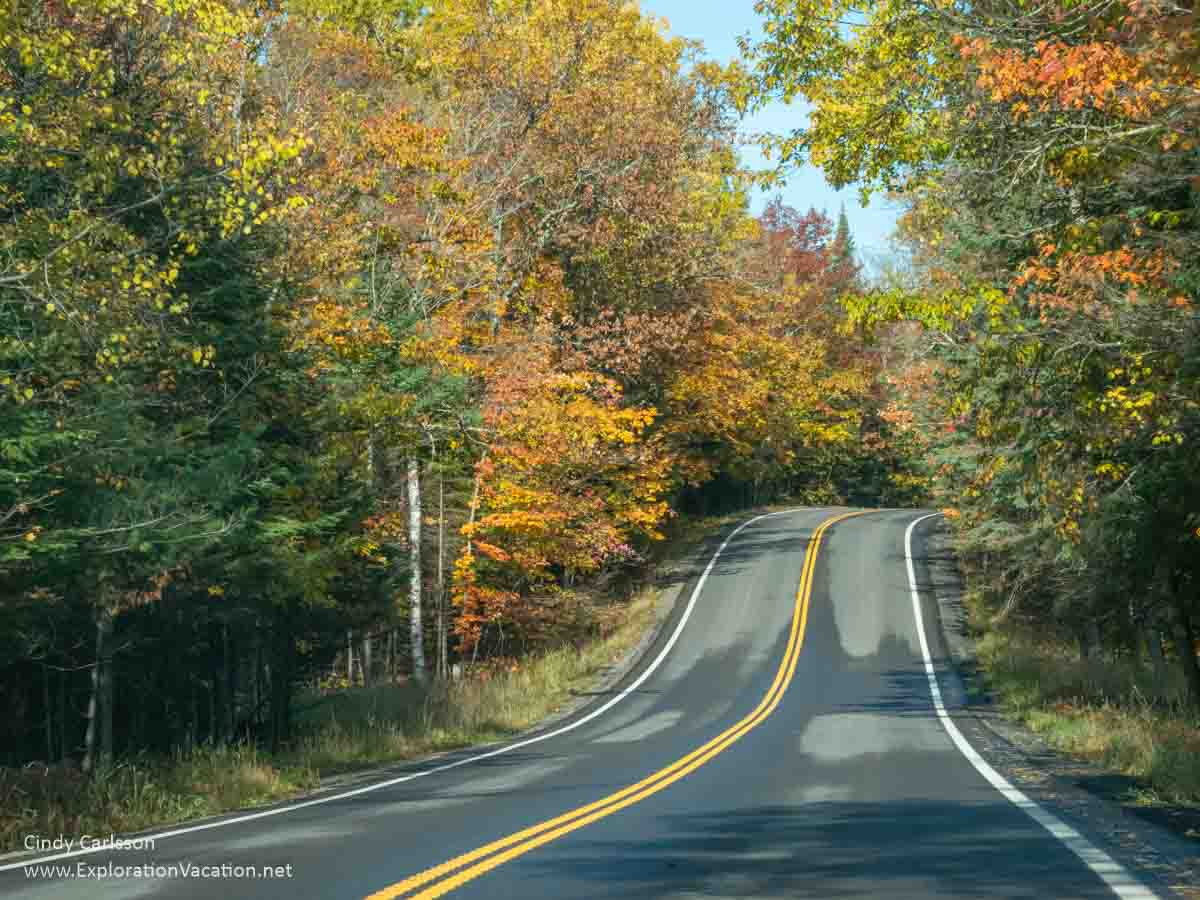 two-lane road through colorful fall forest
