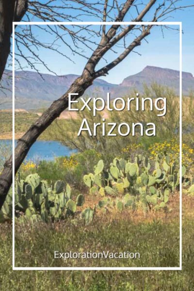 "cacti, mountains, and lake with text ""Exploring Arizona"""