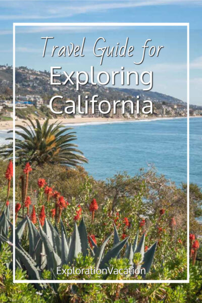 """flowers and palms above the ocean with text """"Travel Guide for Exploring California"""""""