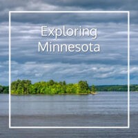 "island in a lake with text ""Exploring Minnesota"""