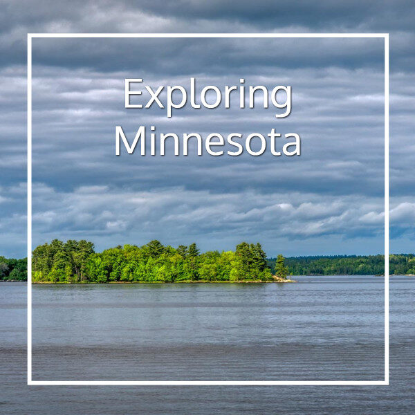 """island in a lake with text """"Exploring Minnesota"""""""