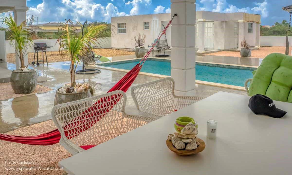 courtyard with pool and hammock