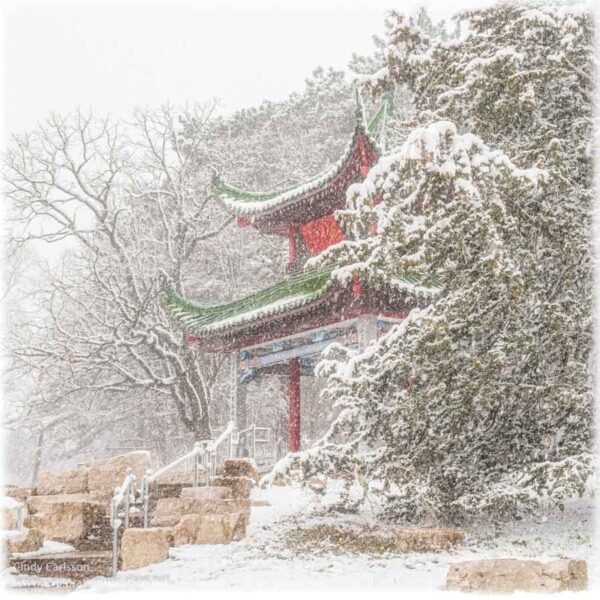 Chinese pavilion with snow