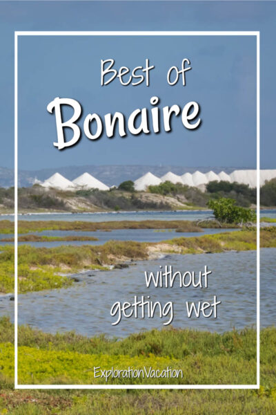 """lagoons and salt with text """"the best of Bonaire without getting wet"""""""