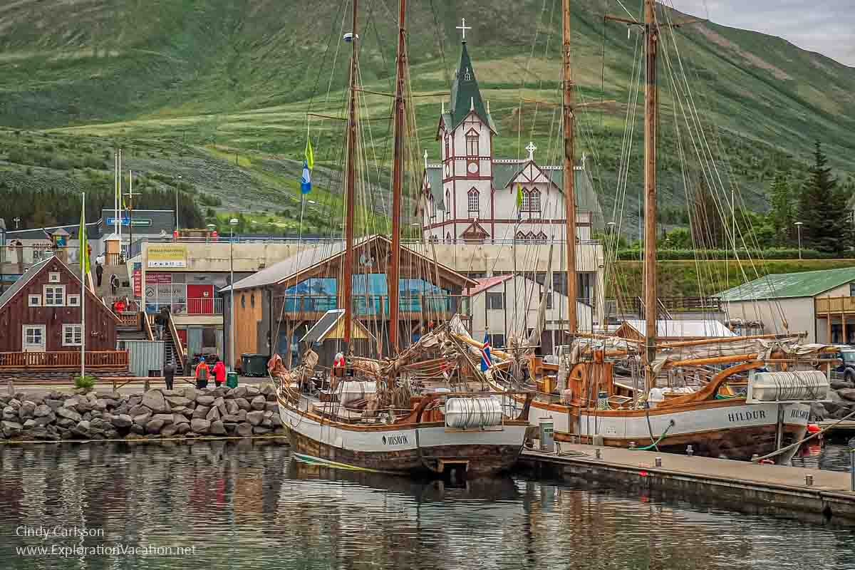 town with tall ships in the harbor
