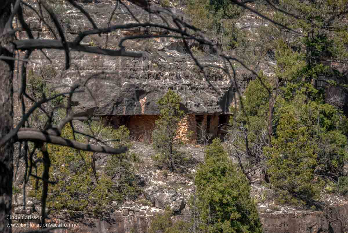cliff dwelling in distance