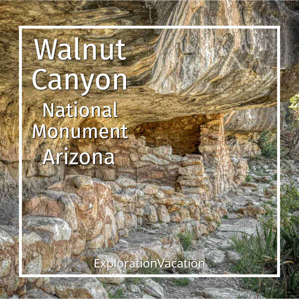 """cliff dwelling interior with text """"Walnut Canyon National Monument Arizona"""""""