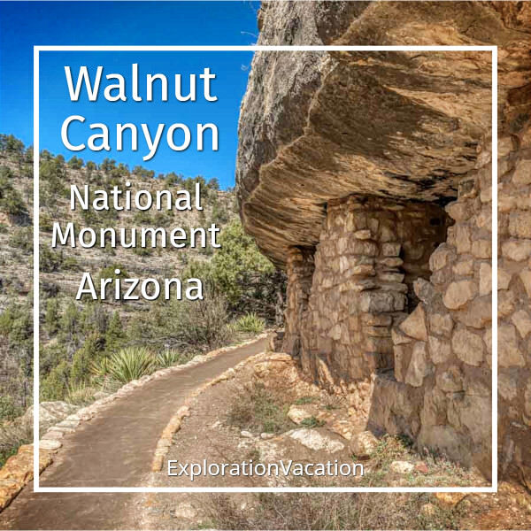 """cliff dwelling with text """"Walnut Canyon National Monument Arizona"""""""