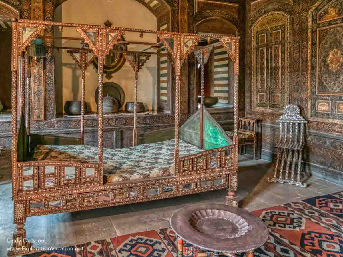 inlaid wood bed from Syria