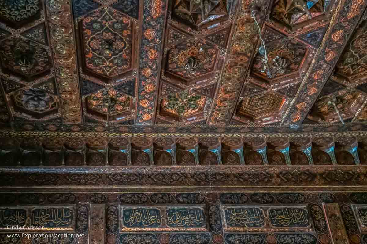 elaborately carved and painted Arab ceiling
